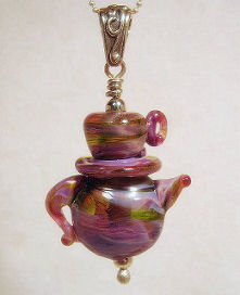 Teapot and Teacup Lampwork Bead