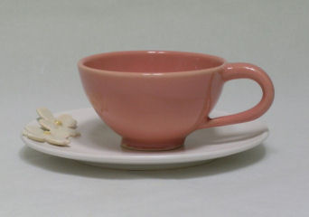 Whitney Smith Pottery's Dogwood Teacup and Saucer