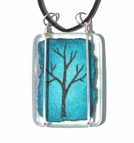 Blue Tree Pendant on Clear Glass