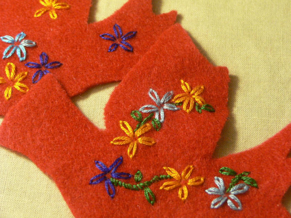 Unfinished Embroidered Felt Ornaments