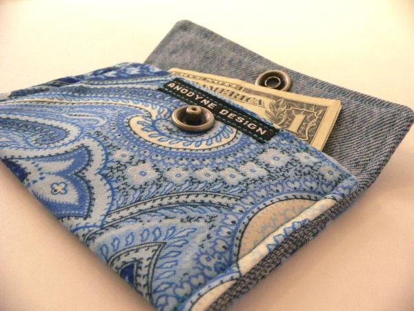 Paisley Sea Denim Card Wallet