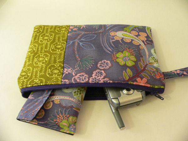 Midnight Garden Patchwork Wristlet in Action