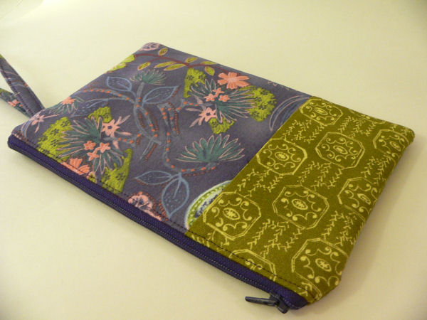 Midnight Garden Patchwork Wristlet