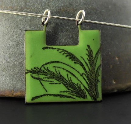 Always Greener on Your Side Enameled Necklace by VerreEncore