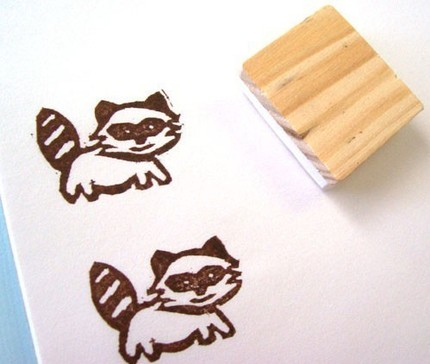 Raccoon Rubber Stamp from Craft Pudding