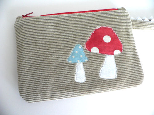 Upcycled Wrislet with Applique Mushrooms