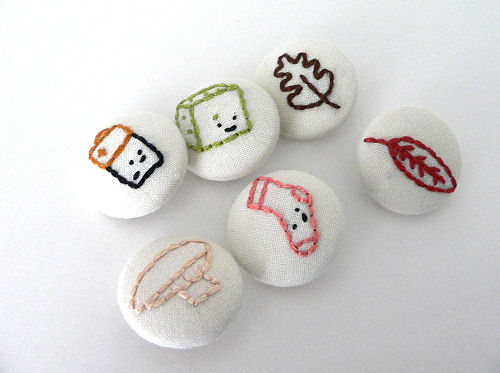 Embroidered Buttons by Wild Olive